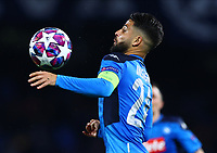 25th February 2020; Stadio San Paolo, Naples, Campania, Italy; UEFA Champions League Football, Napoli versus Barcelona; Lorenzo Insigne of Napoli controls the ball off his chest