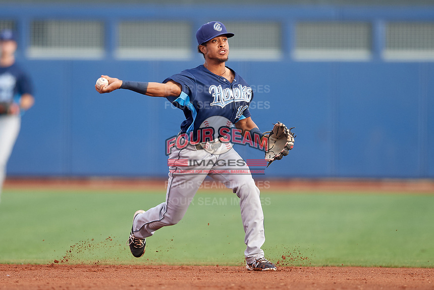 Corpus Christi Hooks shortstop Antonio Nunez (10) throws to first base during a game against the Tulsa Drillers on June 3, 2017 at ONEOK Field in Tulsa, Oklahoma.  Corpus Christi defeated Tulsa 5-3.  (Mike Janes/Four Seam Images)