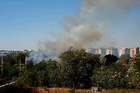Roma 8 Agosto 2012.Incendio alla stazione ferroviaria di via Val d'Ala si è sviluppato lungo tutta la linea a servizio del quartiere Monte Sacro e al Parco delle Valli che si trova all'interno della Valle dell'Aniene in zona Conca d'Oro.