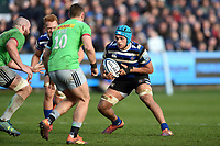 Zach Mercer of Bath Rugby in possession. Gallagher Premiership match, between Bath Rugby and Harlequins on March 2, 2019 at the Recreation Ground in Bath, England. Photo by: Patrick Khachfe / Onside Images