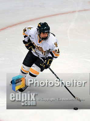 25 October 2008: University of Vermont Catamount defenseman Peggy Wakeham, a Sophomore from Bay Roberts, Newfoundland, in action against the Cornell University Big Red at Gutterson Fieldhouse, in Burlington, Vermont. The Big Red defeated the Catamounts 5-1 to sweep their 2-game series in Vermont...Mandatory Photo Credit: Ed Wolfstein Photo