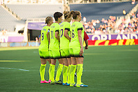 Orlando, Florida - Sunday, May 8, 2016: Merritt Mathias (9), Keelin Winters (11), Beverly Yanez (17), and Lindsay Elston (6) of the Seattle Reign set up a wall during a National Women's Soccer League match between Orlando Pride and Seattle Reign FC at Camping World Stadium.