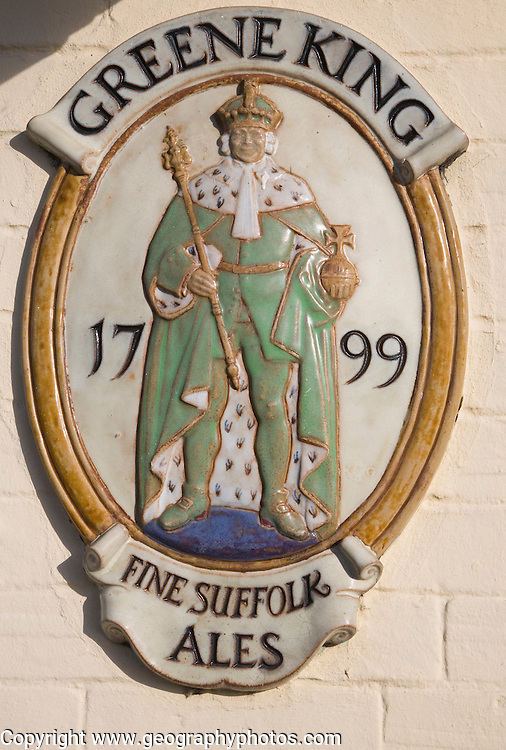 Old sign for Greene King brewery makers of fine Suffolk ales established in 1799