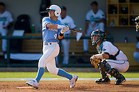 Garrett Gore #4 of the North Carolina Tar Heels follows through on his swing against the Coastal Carolina Chanticleers at Boshamer Stadium May 30, 2010, in Chapel Hill, North Carolina.  Photo by Brian Westerholt / Four Seam Images