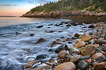 Acadia National Park, Maine: Rounded boulders, rocks and surf at dawn, Hunter's Beach