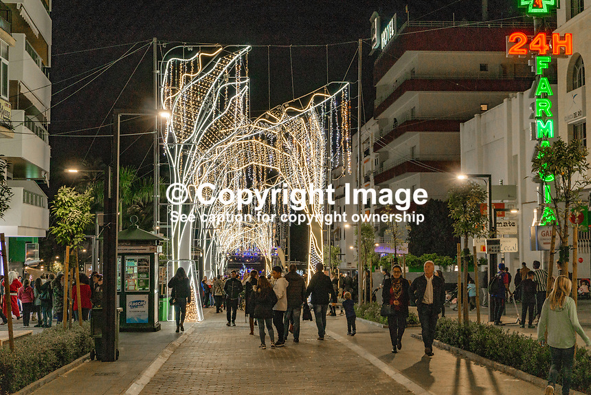 Christmas Lights, San Pedro de Alcantara, Malaga Province, Spain, November, 2018, 201811300054<br />