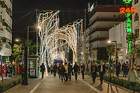 Christmas Lights, San Pedro de Alcantara, Malaga Province, Spain, November, 2018, 201811300054<br /><br />Copyright Image from Victor Patterson, 54 Dorchester Park, <br />Belfast, UK, BT9 6RJ<br /><br />t1: +44 28 9066 1296 (from Rep of Ireland 048 9066 1296)<br />t2: +44 28 9002 2446 (from Rep of Ireland 048 9002 2446)<br />m: +44 7802 353836<br /><br />victorpattersonbelfast@gmail.com<br /><br />Please see my Terms and Conditions of Use at victorpatterson.com. It is IMPORTANT that you familiarise yourself with them.<br /><br />Images used on the Internet incur an additional cost and must be visibly watermarked i.e. &copy; Victor Patterson within the body of the image and copyright metadata must not be deleted. Images used on the Internet have a size restriction of 4kbs and are chargeable at rates available at victorpatterson.com.<br /><br />This image is available only for the use of the download recipient i.e. television station, newspaper, magazine, book publisher, etc, and must not be passed on to any third party. It is also downloaded on condition that each and every usage is notified within 7 days to victorpattersonbelfast@gmail.com<br /><br />The right of Victor Patterson (or the named photographer) to be identified as the author is asserted in accordance with The Copyright Designs And Patents Act (1988). All moral rights are asserted.