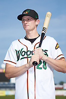 Sam Huff (28) of the Down East Wood Ducks poses for a photo prior to the game against the Winston-Salem Dash at Grainger Stadium Field on May 17, 2019 in Kinston, North Carolina. The Dash defeated the Wood Ducks 8-2. (Brian Westerholt/Four Seam Images)