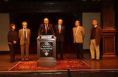 "Washington, DC - April 10, 2002 -- Standing on the historic Elizabethan Theatre stage at the Folger Shakespeare Library, United States Senators Chuck Schumer (Democrat of New York) and Orrin Hatch (Republican of Utah), joined by Dramatists Guild President John Weidman and distinguished playwrights Stephen Sondheim, Alfred Uhry, and Marsha Norman, unveiled new bi-partisan legislation that gives playwrights collective bargaining rights and just compensation for their works.   ""In a marketplace increasingly dominated by large corporations, individual playwrights need to be able to stand together to collectively negotiate contracts,"" said Schumer.  ""There's no business like show business but without this protection, the playwrights will be out of business."" Left to right: Marsha Norman, John Weidman, Senator Schumer, Senator Hatch, Alfred Uhry, and Stephen Sondheim..Credit: Ron Sachs / CNP"