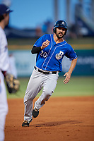 Biloxi Shuckers Patrick Leonard (20) running the bases during a Southern League game against the Pensacola Blue Wahoos on May 3, 2019 at Admiral Fetterman Field in Pensacola, Florida.  Pensacola defeated Biloxi 10-8.  (Mike Janes/Four Seam Images)
