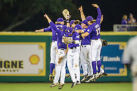 LSU Tigers celebrate winning their Southeastern Conference baseball game against the Texas A&M Aggies on April 24, 2015 at Alex Box Stadium in Baton Rouge, Louisiana. LSU defeated Texas A&M 9-6. (Andrew Woolley/Four Seam Images)