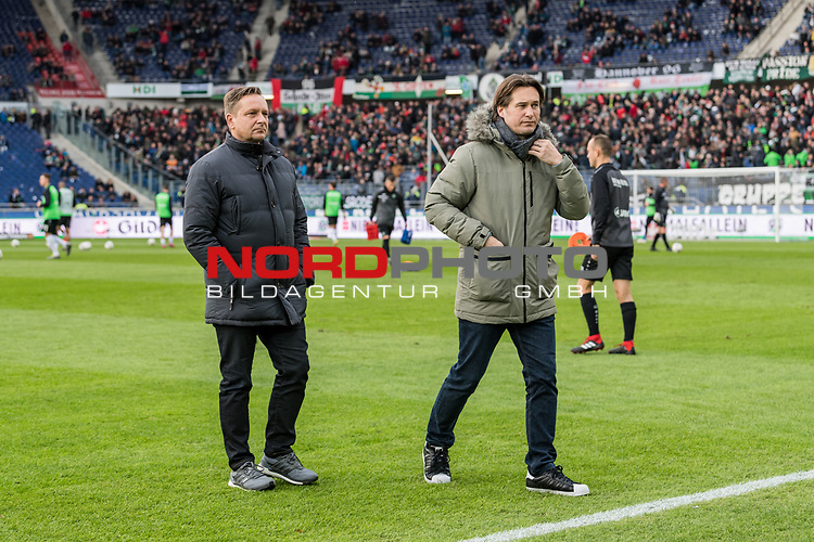 09.02.2019, HDI Arena, Hannover, GER, 1.FBL, Hannover 96 vs 1. FC Nuernberg<br /> <br /> DFL REGULATIONS PROHIBIT ANY USE OF PHOTOGRAPHS AS IMAGE SEQUENCES AND/OR QUASI-VIDEO.<br /> <br /> im Bild / picture shows<br /> Horst Heldt (Sportdirektor / Manager Sport Hannover 96), Gerhard Zuber (Sportlicher Leiter Hannover 96), <br /> <br /> Foto &copy; nordphoto / Ewert