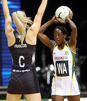 31.08.2016 South Africa's Bongiwe Msomi in action during the Netball Quad Series match between the Silver Ferns and South Africa played at Claudelands Arena in Hamilton. Mandatory Photo Credit ©Michael Bradley.