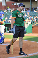 Chad Spanberger of the Asheville Tourists after winning the home run derby as part of the All Star Game festivities at First National Bank Field on June 19, 2018 in Greensboro, North Carolina.(Tony Farlow/Four Seam Images)