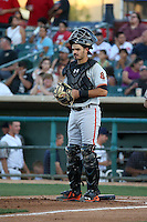 Aramis Garcia (18) of the San Jose Giants in the field at catcher during a game against the Lancaster JetHawks at The Hanger on August 13, 2016 in Lancaster, California. Lancaster defeated San Jose, 16-2. (Larry Goren/Four Seam Images)