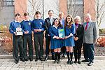 Pobalscoil Chorca Dhuibhne students Jason Mac a tSíthigh, Brian Ó Conchúir, Jaic Ó Grifín (2nd prize winners), and Louise Ní Mhuircheartaigh and Lucy Aghas (1st prize winners), who won the Comhar Chreidmheasa Chorca Dhuibhne 'Comórtas Fiontraíochta' awards, here pictured with Micheal Ó Cinnéide (Comhar Chreidmheasa Chorca Dhuibhne), Maire Ní Shé (Údaras na Gaeltachta), Orna Ní Dhuinnshlíbhe (teacher) and Padraig Firtéar (principal).