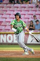 Miguel Amaya (9) of the Eugene Emeralds bats against the Salem-Keizer Volcanoes at Volcanoes Stadium on July 24, 2017 in Keizer, Oregon. Eugene defeated Salem-Keizer, 7-6. (Larry Goren/Four Seam Images)