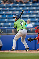 Lynchburg Hillcats second baseman Dillon Persinger (9) at bat during a game against the Salem Red Sox on May 10, 2018 at Haley Toyota Field in Salem, Virginia.  Lynchburg defeated Salem 11-5.  (Mike Janes/Four Seam Images)