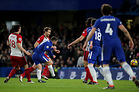 Eden Hazard scores Chelsea's opening goal during Chelsea vs West Bromwich Albion, Premier League Football at Stamford Bridge on 12th February 2018