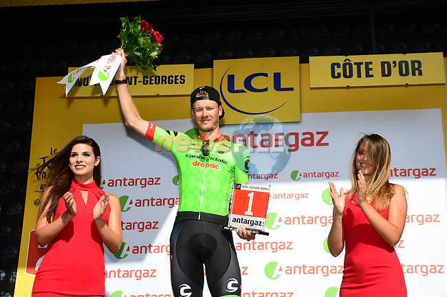 Dylan Van Baarle (NED) Cannondale Drapac wins the day's combativity award at the end of Stage 7 of the 104th edition of the Tour de France 2017, running 213.5km from Troyes to Nuits-Saint-Georges, France. 7th July 2017.<br /> Picture: ASO/Alex Broadway | Cyclefile<br /> <br /> <br /> All photos usage must carry mandatory copyright credit (&copy; Cyclefile | ASO/Alex Broadway)