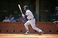 Pensacola Blue Wahoos designated hitter Eric Jagielo (7) follows through on a swing during a game against the Mobile BayBears on April 26, 2017 at Hank Aaron Stadium in Mobile, Alabama.  Pensacola defeated Mobile 5-3.  (Mike Janes/Four Seam Images)