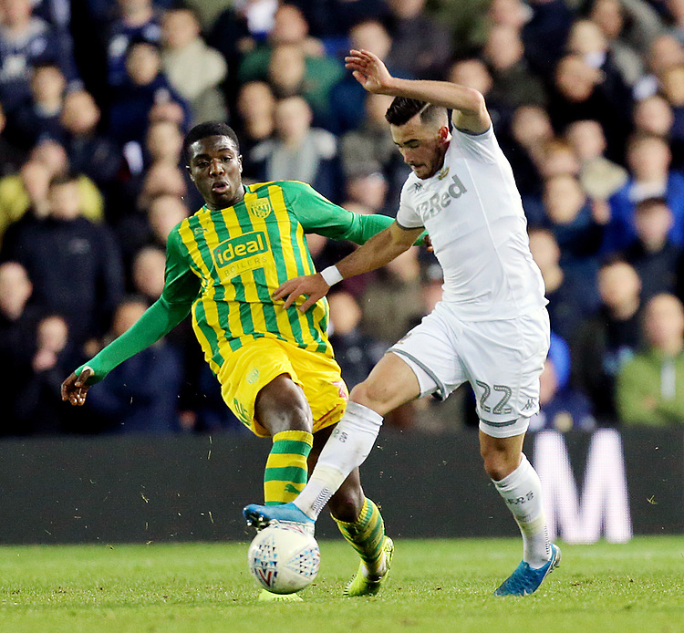 Leeds United's Jack Harrison battles with West Bromwich Albion's Nathan Ferguson<br /> <br /> Photographer Rich Linley/CameraSport<br /> <br /> The EFL Sky Bet Championship - Tuesday 1st October 2019  - Leeds United v West Bromwich Albion - Elland Road - Leeds<br /> <br /> World Copyright © 2019 CameraSport. All rights reserved. 43 Linden Ave. Countesthorpe. Leicester. England. LE8 5PG - Tel: +44 (0) 116 277 4147 - admin@camerasport.com - www.camerasport.com