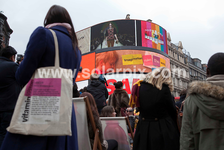 **ALL ROUND PICTURES FROM SOLARPIX.COM**                                             **NO UK NEWSPAPER PUBLICATION**.**UK MAGAZINE & SUPPLEMENT PUBLICATION ONLY** AND NO PUBLICATION IN AUSTRALIA, BELGIUM, FRANCE, GERMANY, ITALY, SCANDINAVIA AND USA**                                                                                  The Burberry catwalk show was shown live on the famous electronic billboard in London's Piccadilly Circus.                                                                         .This pic:      The Burberry catwalk billboard at Piccadilly Circus.                                                                                       JOB REF:   12864     SFE       DATE:    21.02.11                                                     **MUST CREDIT SOLARPIX.COM OR DOUBLE FEE WILL BE CHARGED**                                                                      **MUST AGREE FEE BEFORE ONLINE USAGE**                               **CALL US ON: +34 952 811 768 or LOW RATE FROM UK 0844 617 7637**