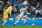 Gareth Bale (R) of Real Madrid is followed by Mario Gaspar Perez Martínez of Villarreal CF during the La Liga 2017-18 match between Real Madrid and Villarreal CF at Santiago Bernabeu Stadium on January 13 2018 in Madrid, Spain. Photo by Diego Gonzalez / Power Sport Images