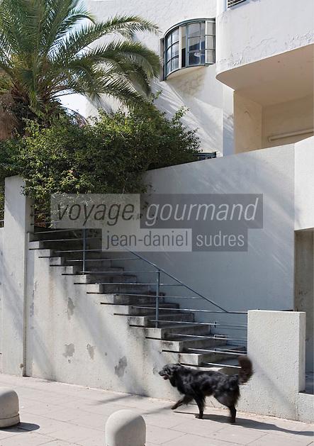 Asie/Israel/Tel-Aviv-Jaffa: détail d'un immeuble Bauhaus sur Yael Street