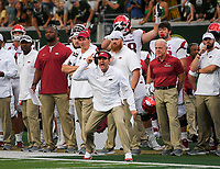 NWA Democrat-Gazette/CHARLIE KAIJO Arkansas Razorbacks head coach Chad Morris calls a timeout during the second quarter of a football game, Saturday, September 8, 2018 at Colorado State University in Fort Collins, Colo.