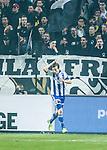 Solna 2014-03-31 Fotboll Allsvenskan AIK - IFK G&ouml;teborg :  <br /> G&ouml;teborgs Lasse Vibe jublar efter att ha gjort 1-0<br /> (Foto: Kenta J&ouml;nsson) Nyckelord:  AIK Gnaget Solna IFK G&ouml;teborg Bl&aring;vitt jubel gl&auml;dje lycka glad happy