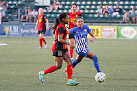 Rochester, NY - Friday May 27, 2016: Western New York Flash forward Taylor Smith (11)  is marked by Boston Breakers forward Kyah Simon (17). The Western New York Flash defeated the Boston Breakers 4-0 during a regular season National Women's Soccer League (NWSL) match at Rochester Rhinos Stadium.