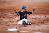Bradenton Marauders Chase Simpson (10) slides into third base during a game against the Palm Beach Cardinals on August 8, 2016 at McKechnie Field in Bradenton, Florida.  Bradenton defeated Palm Beach 5-4.  (Mike Janes/Four Seam Images)