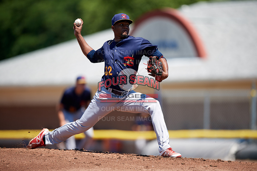 State College Spikes starting pitcher Angel Rondon (32) delivers a pitch during a game against the Batavia Muckdogs on July 8, 2018 at Dwyer Stadium in Batavia, New York.  Batavia defeated State College 8-3.  (Mike Janes/Four Seam Images)