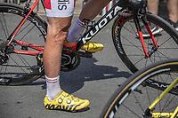 Cyclist legs.<br /> <br /> Stage 1: Noirmoutier-en-l'Île > Fontenay-le-Comte (189km)<br /> <br /> Le Grand Départ 2018<br /> 105th Tour de France 2018<br /> ©kramon