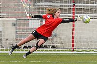 Bridgeview, IL, USA - Sunday, May 1, 2016: Chicago Red Stars goalkeeper Alyssa Naeher (1) before a regular season National Women's Soccer League match between the Chicago Red Stars and the Orlando Pride at Toyota Park. Chicago won 1-0.