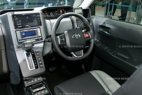 The interior of the Toyota JPN Taxi vehicle on display during the 45th Tokyo Motor Show 2017 in Tokyo Big Sight on October 25, 2017, Tokyo, Japan. Tokyo Motor Show 2017 will showcase new mobility solutions from over 153 Japanese and overseas automakers. The exhibition is open to the public from October 26 to November 5. (Photo by Rodrigo Reyes Marin/AFLO)