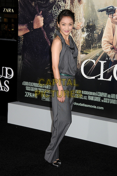 "Zhou Xun.""Cloud Atlas"" Los Angeles Premiere held at Grauman's Chinese Theatre, Hollywood, California, USA..October 24th, 2012.full length grey gray jumpsuit side twisted halterneck .CAP/ADM/BP.©Byron Purvis/AdMedia/Capital Pictures."