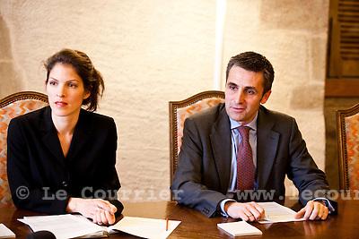 Genève, le 17.03.2010.Conférence de presse du conseil d'état..François Longchamp et Anja Wyden Guelpa.© Le Courrier / J.-P. Di Silvestro