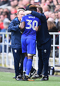4th November 2017, Ashton Gate, Bristol, England; EFL Championship football, Bristol City versus Cardiff City; Omar Bogle of Cardiff City celebrates with Neil Warnock Manager of Cardiff City after scoring Cardiff City's first goal