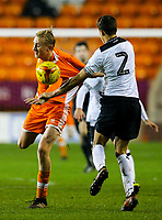 Blackpool's Ewan Bange has his short pulled by Derby County's Callum Minkley<br /> <br /> Photographer Alex Dodd/CameraSport<br /> <br /> The FA Youth Cup Third Round - Blackpool U18 v Derby County U18 - Tuesday 4th December 2018 - Bloomfield Road - Blackpool<br />  <br /> World Copyright &copy; 2018 CameraSport. All rights reserved. 43 Linden Ave. Countesthorpe. Leicester. England. LE8 5PG - Tel: +44 (0) 116 277 4147 - admin@camerasport.com - www.camerasport.com