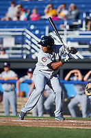 Mahoning Valley Scrappers outfielder Anthony Santander (27) at bat during a game against the Batavia Muckdogs on June 23, 2015 at Dwyer Stadium in Batavia, New York.  Mahoning Valley defeated Batavia 11-2.  (Mike Janes/Four Seam Images)