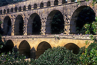 Roman aquaduct, Pont Du Gard, UNESCO World Heritage site.  275M in lenght, 48M in height.   Nimes, France.