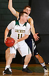 FEBRUARY 14, 2015 -- Wyatt Krogman #11 of Black Hills State runs into defender Andrew Squiers #10 of Colorado Christian during their Rocky Mountain Athletic Conference men's basketball game Saturday at the Donald E. Young Center in Spearfish, S.D.  (Photo by Dick Carlson/Inertia)