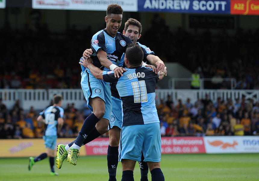 Wycombe Wanderers' Paris Cowan-Hall celebrates scoring his sides second goal with team-mate Sam Wood<br /> <br /> Photographer Ian Cook/CameraSport<br /> <br /> Football - Newport County v Wycombe Wanderers - Sky Bet League 2 - Saturday 09th August 2014 - Rodney Parade - Newport<br /> <br /> &copy; CameraSport - 43 Linden Ave. Countesthorpe. Leicester. England. LE8 5PG - Tel: +44 (0) 116 277 4147 - admin@camerasport.com - www.camerasport.com