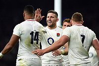 Mark Wilson of England celebrates a try from team-mate Joe Cokanasiga. Quilter International match between England and Australia on November 24, 2018 at Twickenham Stadium in London, England. Photo by: Patrick Khachfe / Onside Images
