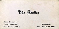 BNPS.co.uk (01202 558833)<br /> Pic: OmegaAuctions/BNPS<br /> <br /> 1960 -  Now The Beatles and managed by Alun Williams.<br /> <br /> From Me To You - Fascinating business cards chart the earliest days of the Fab Four.<br /> <br /> Meet The Beatles - Three business cards that chart the evolution of the Beatles from fledgling teenagers have emerged for sale for £6,000.<br /> <br /> The first card dates to 1957 when John Lennon, Paul McCartney and George Harrison were in a band called The Quarry Men along with Lennon's best mate Pete Shotton.<br /> <br /> They started off as a Country, Western, Rock 'n' Roll and Skiffle act and had the cards professionally made while they looked for gigs in their native Liverpool.<br /> <br /> By the time The Quarry Men had their second set of business cards printed in 1958 they had dropped the Country  Western element to their act.<br /> <br /> And a third card printed in 1960 shows how the band had changed their name The Beatles and had a new manager, Alun Williams.