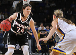 SIOUX FALLS, SD - MARCH 7:  Bobbi Beckwith #24 from Omaha looks to make a move against Macy Miller #12 from South Dakota State University during their semifinal game of the 2016 Summit League Championship Monday afternoon in Sioux Falls. (Photo by Dick Carlson/Inertia)