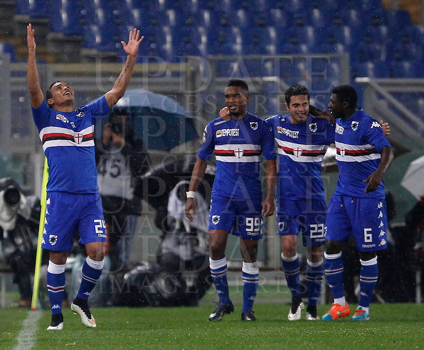 Calcio, Serie A: Roma vs Sampdoria. Roma, stadio Olimpico, 16 marzo 2015. <br /> Sampdoria&rsquo;s Luis Muriel, left, celebrates with teammates, from second left, Samuel Eto&rsquo;o, Eder and Joseph Duncan after scoring during the Italian Serie A football match between Roma and Sampdoria at Rome's Olympic stadium, 16 March 2015.<br /> UPDATE IMAGES PRESS/Isabella Bonotto