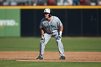 Brian Port (5) of the Coastal Carolina Chanticleers takes his lead off of first base against the Duke Blue Devils at Segra Stadium on November 2, 2019 in Fayetteville, North Carolina. (Brian Westerholt/Four Seam Images)